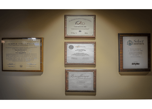 schooling and awards on wall